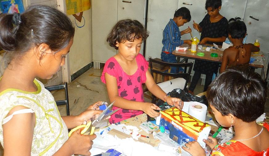 The Batemans Trust Open School children making junk art.